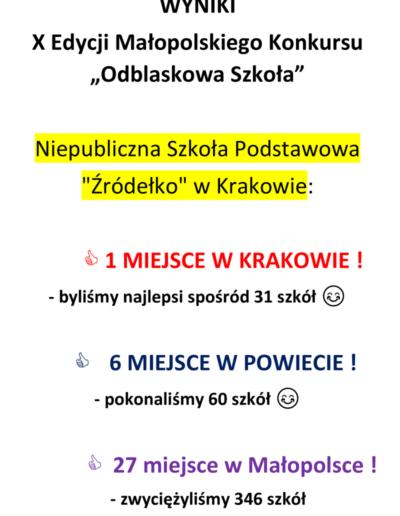 Szkoła Żródełko osiągnięcia 2019/2020